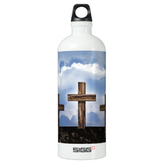 3 Rugged Crosses with Sky Water Bottle