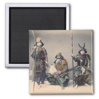 3 Samurai in Armor Vintage Photo Magnet