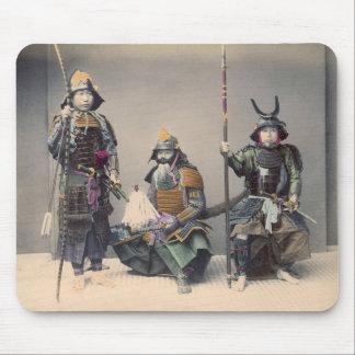 3 Samurai in Armor Vintage Photo Mousepad