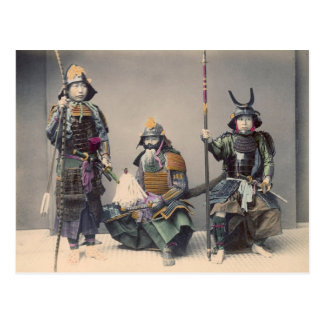 3 Samurai in Armor Vintage Photo Postcard