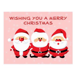 3 Santas Postcard