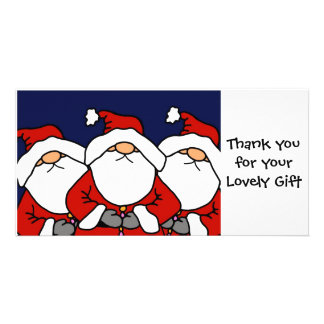 3 Santas Thanks Custom Photo Card