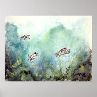 3_sea_turtles_painting poster