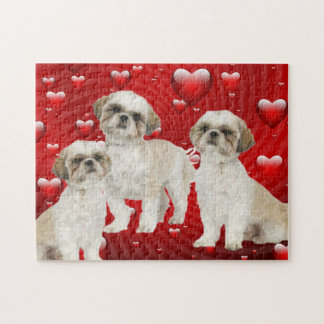 3 Shih Tzu Puppies with Heart Background Jigsaw Puzzle