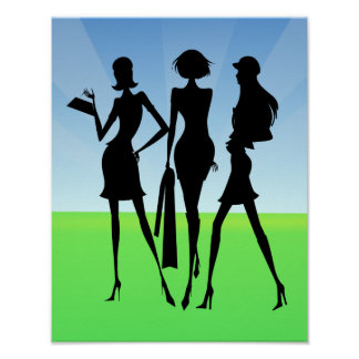 3 Shopping Women Friends Poster