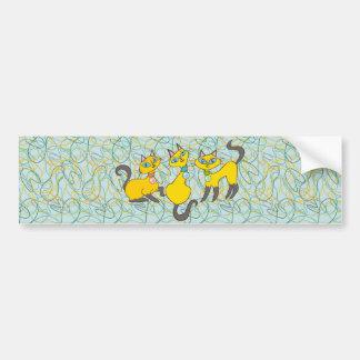 3 Siamese Cats with Retro Organic Shapes Bumper Sticker