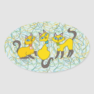 3 Siamese Cats with Retro Organic Shapes Oval Sticker