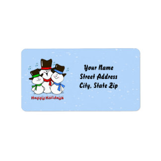 3 Singing Snowmen Address Label