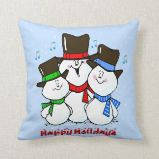 3 Singing Snowmen Holiday Pillow