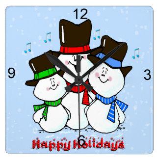 3 Singing Snowmen Square Wall Clock