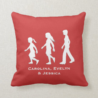 3 Sisters: Silhouettes of 3 Girls Throw Pillow