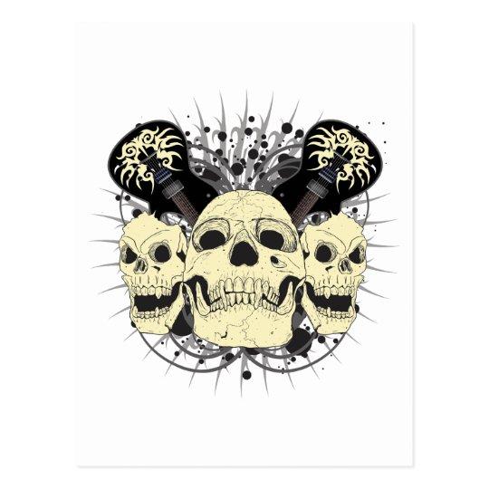 3 Skull Guitars Postcard