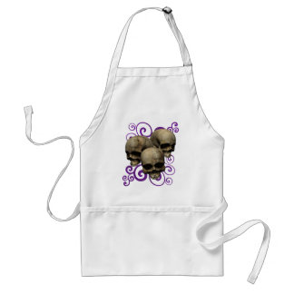 3 Skulls w/Purple Swirl Design Adult Apron