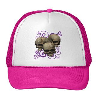 3 Skulls w/Purple Swirl Design Trucker Hat