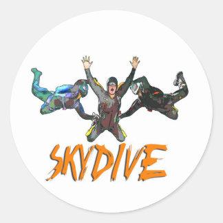 3 Skydivers - naranja Pegatina Redonda