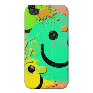 3 SMILEY'S AND PAINT SPLER  iPhone 4/4S COVER
