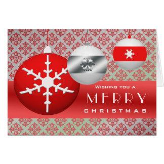 3 Snowflake Ornaments Card