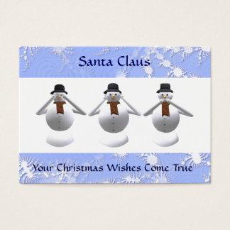 3 Snowmen Christmas Business Card & 2011 Calendar