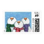 3 Snowmen wearing scarves Postage
