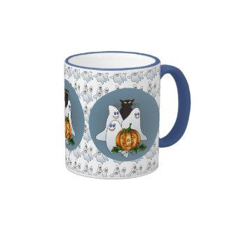 3 SPOOKS, JACK & CAT by SHARON SHARPE Ringer Coffee Mug