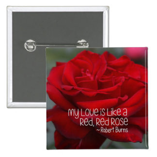 """3"""" Square Button My Love Red Rose"""