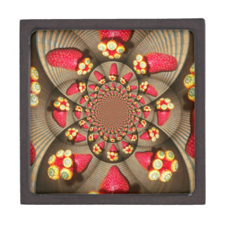 """3"""" Square Gift STRAWBERRY VINTAGE RED AND YELLOW Premium Gift Boxes"""