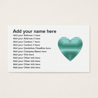 3 stacked aqua-green hearts business card