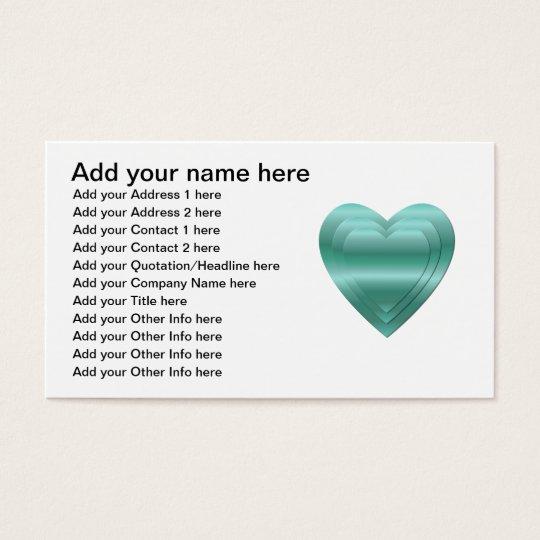 3 stacked aqua-green hearts business card