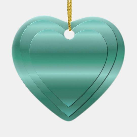 3 stacked aqua-green hearts ceramic ornament