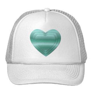 3 stacked aqua-green hearts trucker hat