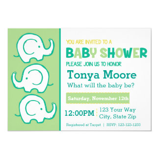 3 Stacked Elephants Green Baby Shower Invitation