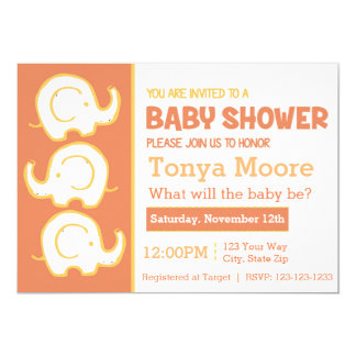 3 Stacked Elephants Orange Baby Shower Invitation