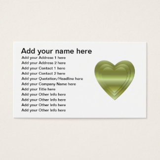 3 stacked gold hearts business card