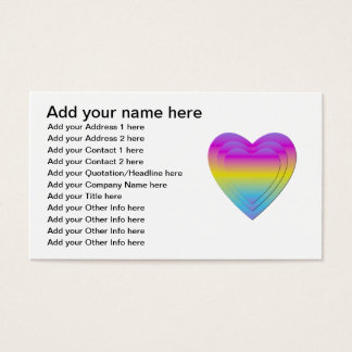 3 stacked pastel hearts business card
