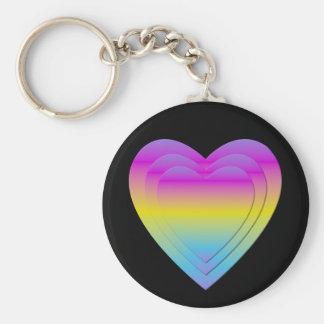 3 stacked pastel hearts basic round button keychain