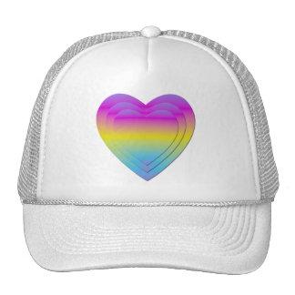 3 stacked pastel hearts trucker hat