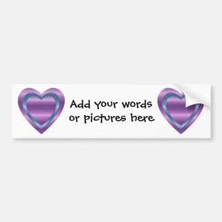 3 stacked purple and blue hearts bumper sticker