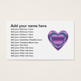 3 stacked purple and blue hearts business card