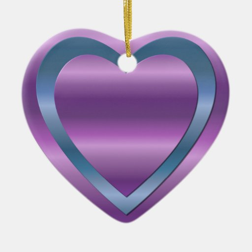 3 stacked purple and blue hearts christmas ornament