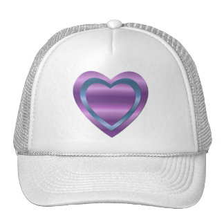 3 stacked purple and blue hearts trucker hat