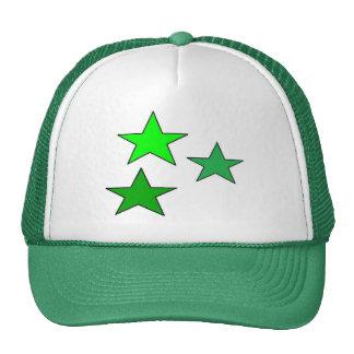 3 Star Designs Green and White Truker Hat