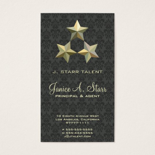 3 Star on Medium Damask Business Card