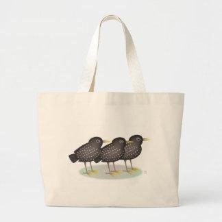 3 starlings bolsa tela grande