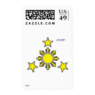 3 stars and a sun postage stamp
