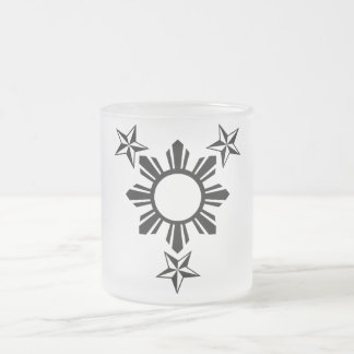 3 Stars and Sun Frosted Glass Coffee Mug