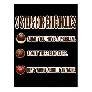 3 STEPS FOR CHOCOHOLICS POSTCARD