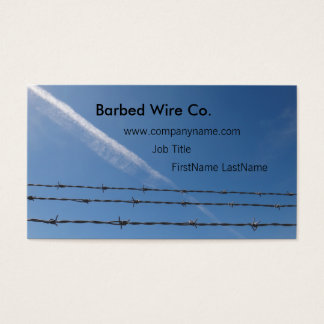 3 strands of barbed wire & contrail business card