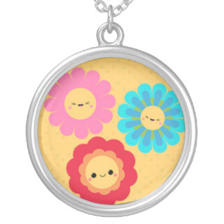 3 Summer Vacation Flowers Round Pendant Necklace