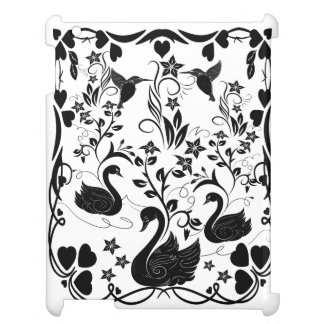 3 Swans and hummingbirds black Cover For The iPad