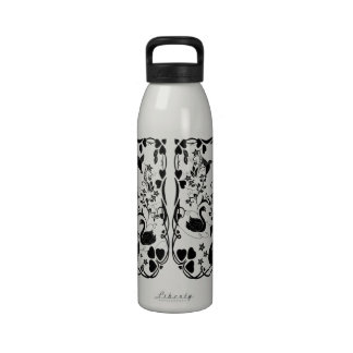 3 Swans and hummingbirds black Water Bottle